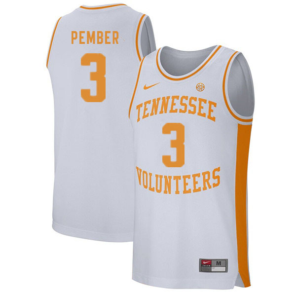 Men #3 Drew Pember Tennessee Volunteers College Basketball Jerseys Sale-White