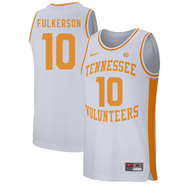 Men #10 John Fulkerson Tennessee Volunteers College Basketball Jerseys Sale-White