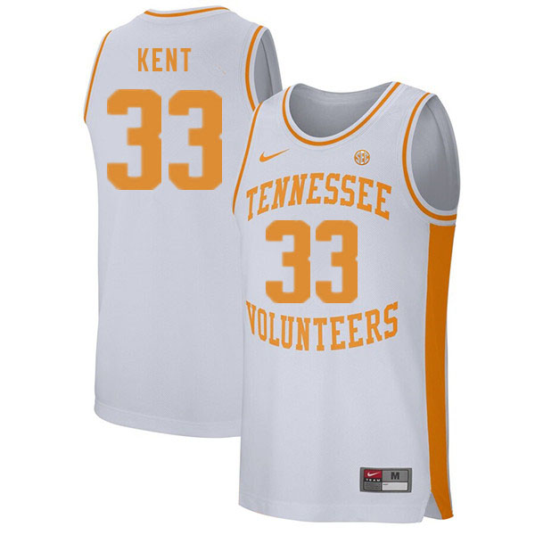 Men #33 Zach Kent Tennessee Volunteers College Basketball Jerseys Sale-White