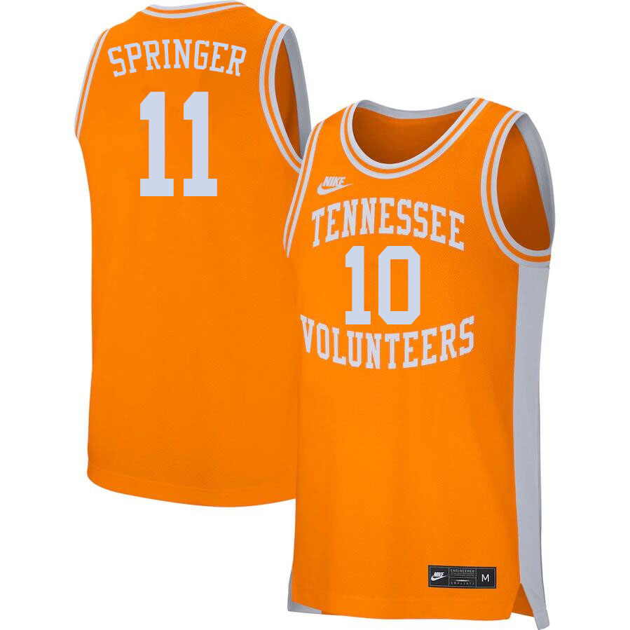 Men #11 Jaden Springer Tennessee Volunteers College Basketball Jerseys Sale-Orange