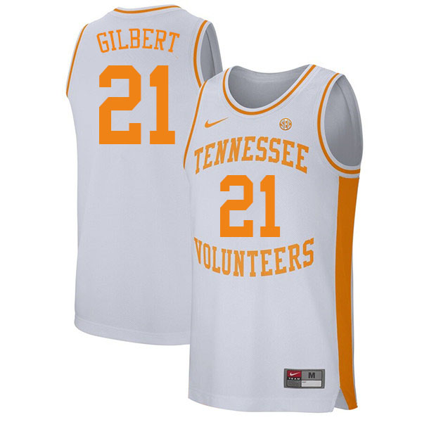Men #21 Kent Gilbert Tennessee Volunteers College Basketball Jerseys Sale-White