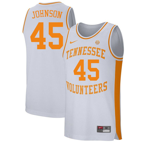 Men #45 Keon Johnson Tennessee Volunteers College Basketball Jerseys Sale-White