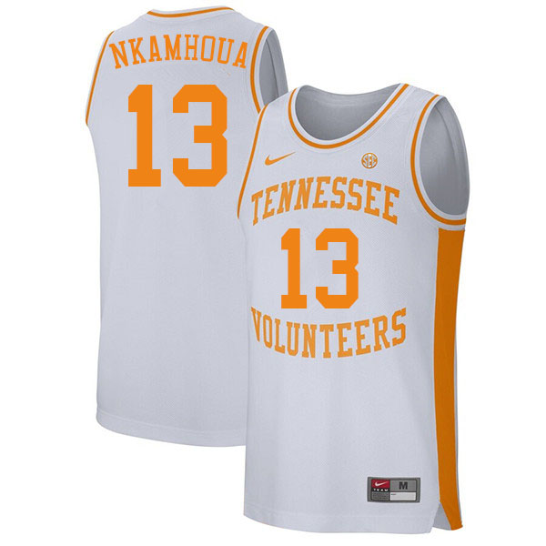 Men #13 Olivier Nkamhoua Tennessee Volunteers College Basketball Jerseys Sale-White