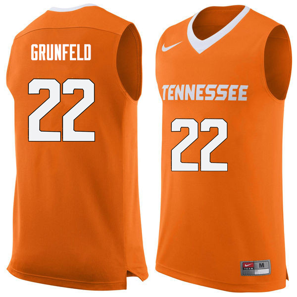 Men #22 Ernie Grunfeld Tennessee Volunteers College Basketball Jerseys Sale-Orange