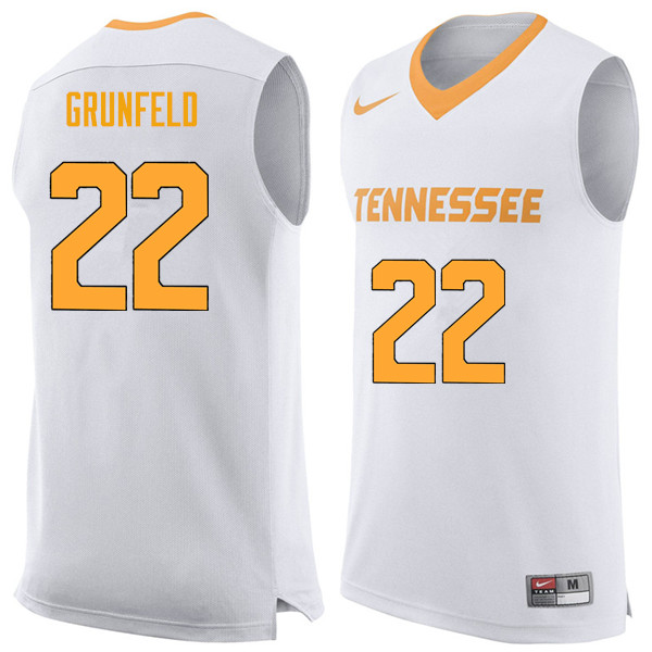 Men #22 Ernie Grunfeld Tennessee Volunteers College Basketball Jerseys Sale-White