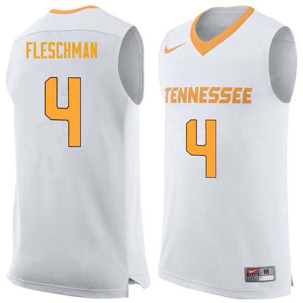 Men #4 Jacob Fleschman Tennessee Volunteers College Basketball Jerseys Sale-White