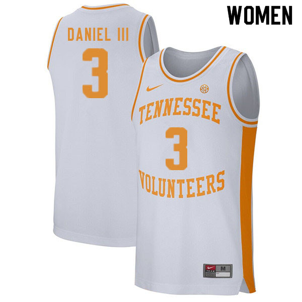 Women #3 James Daniel III Tennessee Volunteers College Basketball Jerseys Sale-White