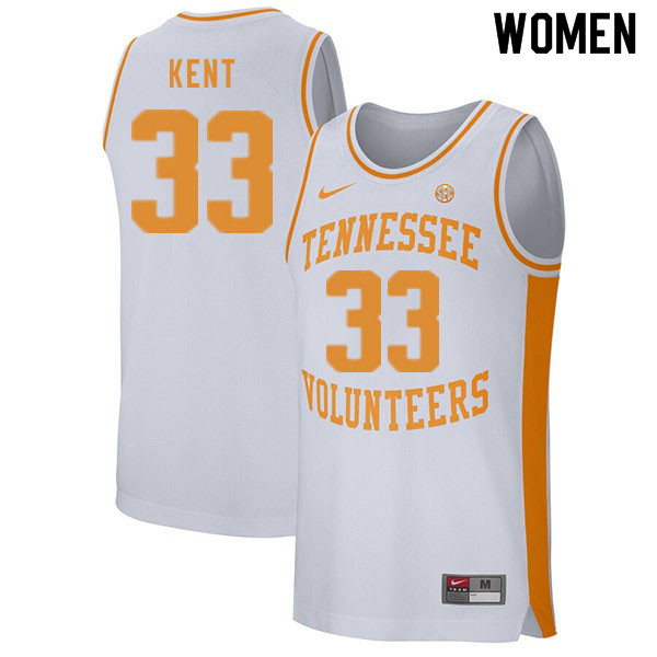 Women #33 Zach Kent Tennessee Volunteers College Basketball Jerseys Sale-White