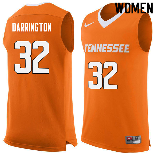 Women #32 Chris Darrington Tennessee Volunteers College Basketball Jerseys Sale-Orange