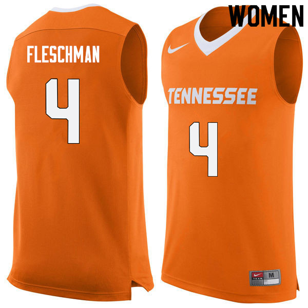 Women #4 Jacob Fleschman Tennessee Volunteers College Basketball Jerseys Sale-Orange