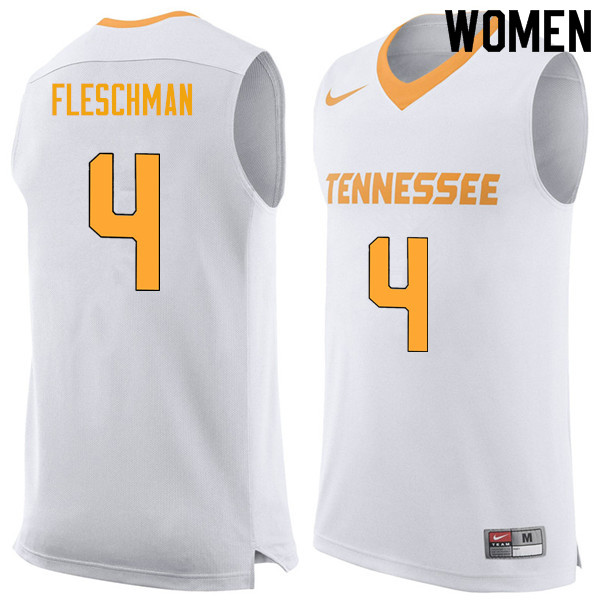 Women #4 Jacob Fleschman Tennessee Volunteers College Basketball Jerseys Sale-White