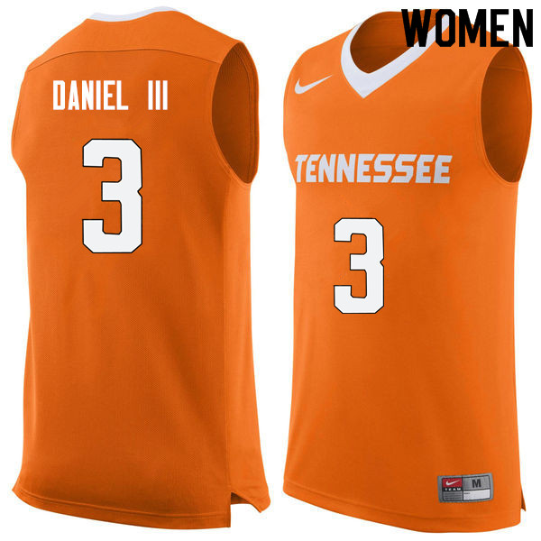 Women #3 James Daniel III Tennessee Volunteers College Basketball Jerseys Sale-Orange
