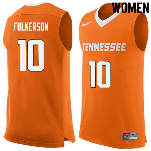 Women #10 John Fulkerson Tennessee Volunteers College Basketball Jerseys Sale-Orange