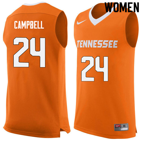 Women #24 Lucas Campbell Tennessee Volunteers College Basketball Jerseys Sale-Orange
