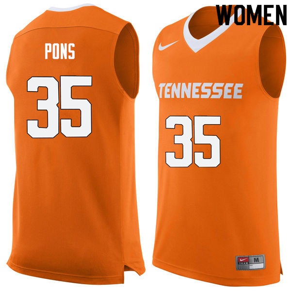 Women #35 Yves Pons Tennessee Volunteers College Basketball Jerseys Sale-Orange
