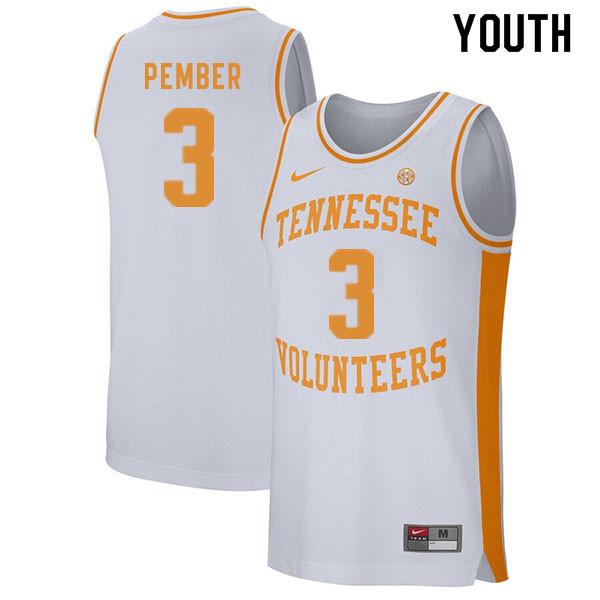 Youth #3 Drew Pember Tennessee Volunteers College Basketball Jerseys Sale-White