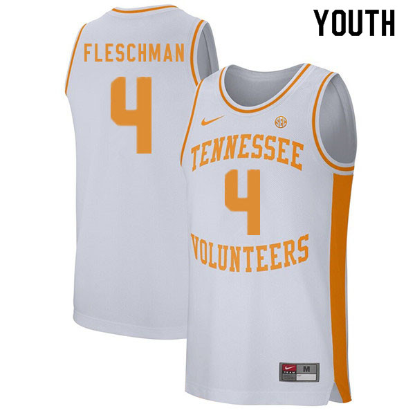 Youth #4 Jacob Fleschman Tennessee Volunteers College Basketball Jerseys Sale-White