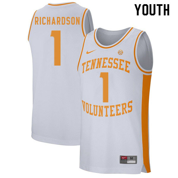 Youth #1 Josh Richardson Tennessee Volunteers College Basketball Jerseys Sale-White