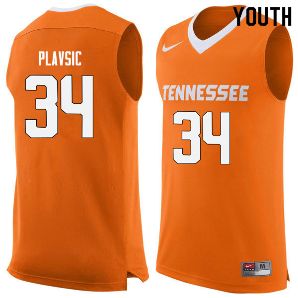 Youth #34 Uros Plavsic Tennessee Volunteers College Basketball Jerseys Sale-Orange