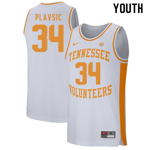 Youth #34 Uros Plavsic Tennessee Volunteers College Basketball Jerseys Sale-White