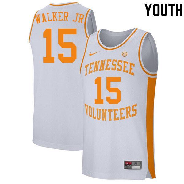 Youth #15 Corey Walker Jr. Tennessee Volunteers College Basketball Jerseys Sale-White