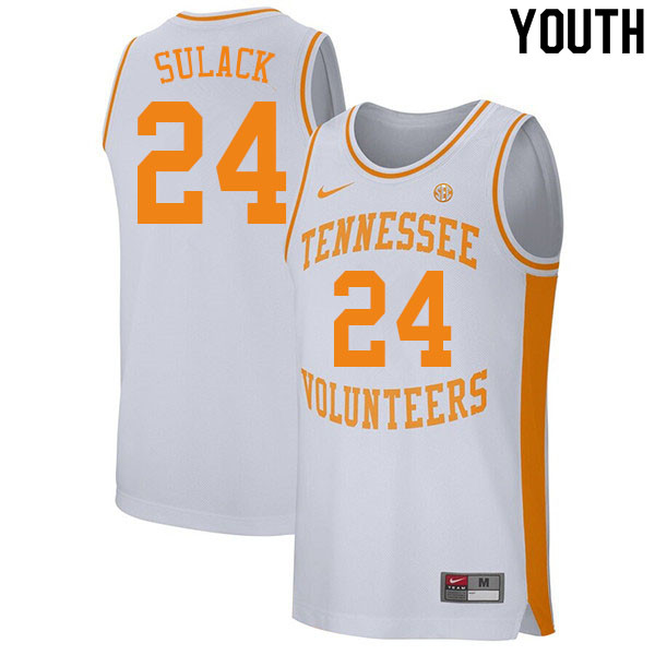 Youth #24 Isaiah Sulack Tennessee Volunteers College Basketball Jerseys Sale-White