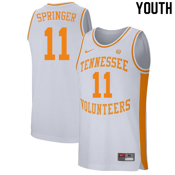 Youth #11 Jaden Springer Tennessee Volunteers College Basketball Jerseys Sale-White
