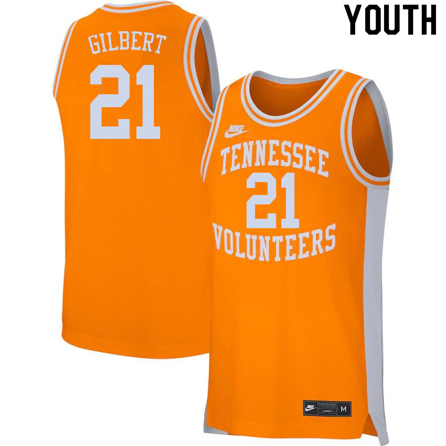 Youth #21 Kent Gilbert Tennessee Volunteers College Basketball Jerseys Sale-Orange