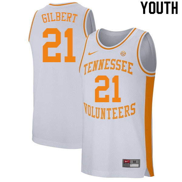 Youth #21 Kent Gilbert Tennessee Volunteers College Basketball Jerseys Sale-White