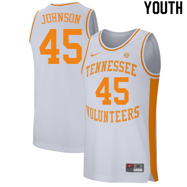 Youth #45 Keon Johnson Tennessee Volunteers College Basketball Jerseys Sale-White