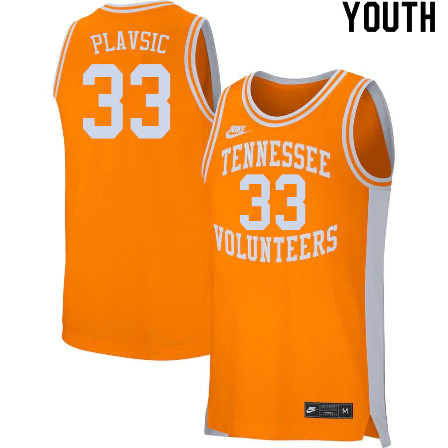 Youth #33 Uros Plavsic Tennessee Volunteers College Basketball Jerseys Sale-Orange