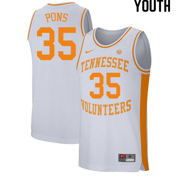 Youth #35 Yves Pons Tennessee Volunteers College Basketball Jerseys Sale-White