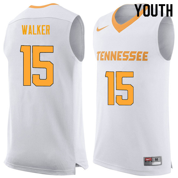 Youth #15 Derrick Walker Tennessee Volunteers College Basketball Jerseys Sale-White