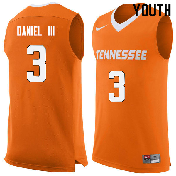 Youth #3 James Daniel III Tennessee Volunteers College Basketball Jerseys Sale-Orange