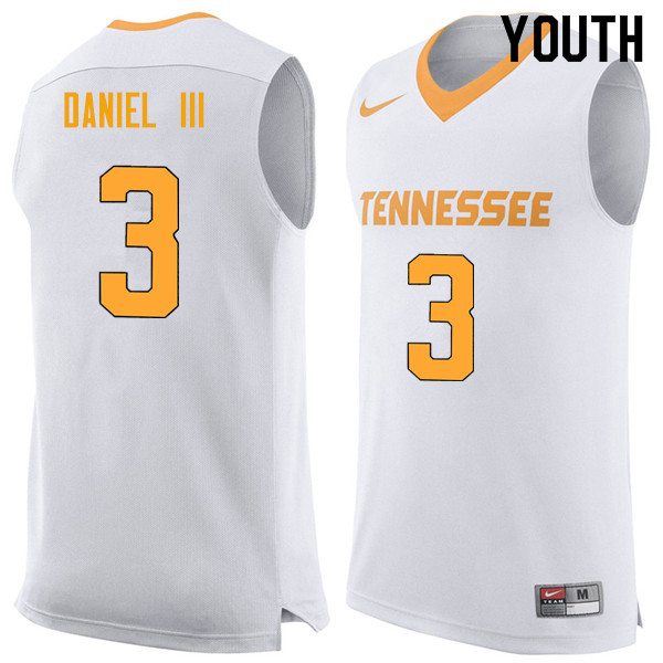 Youth #3 James Daniel III Tennessee Volunteers College Basketball Jerseys Sale-White