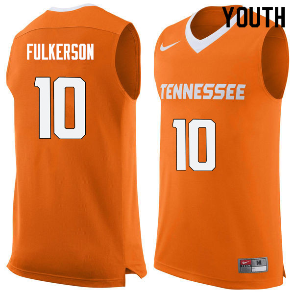 Youth #10 John Fulkerson Tennessee Volunteers College Basketball Jerseys Sale-Orange
