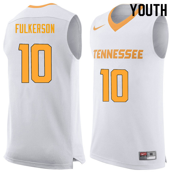 Youth #10 John Fulkerson Tennessee Volunteers College Basketball Jerseys Sale-White