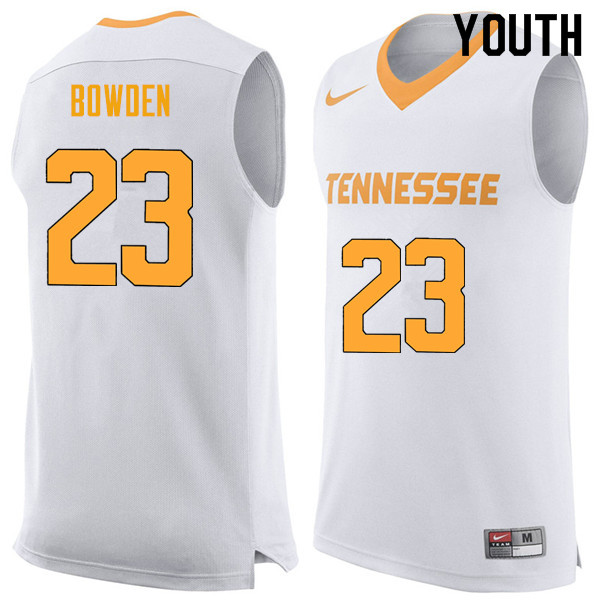 Youth #23 Jordan Bowden Tennessee Volunteers College Basketball Jerseys Sale-White