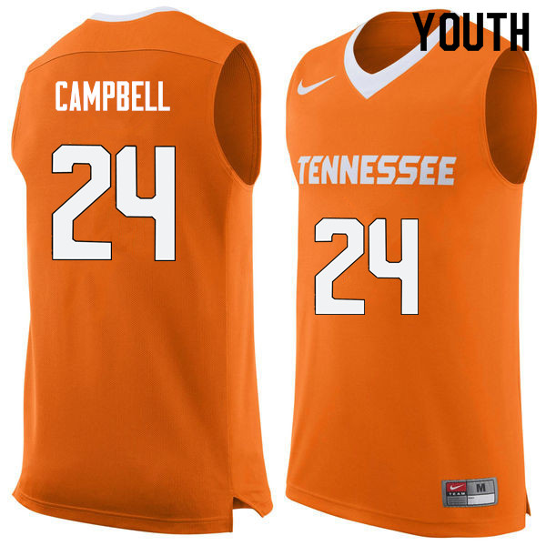 Youth #24 Lucas Campbell Tennessee Volunteers College Basketball Jerseys Sale-Orange