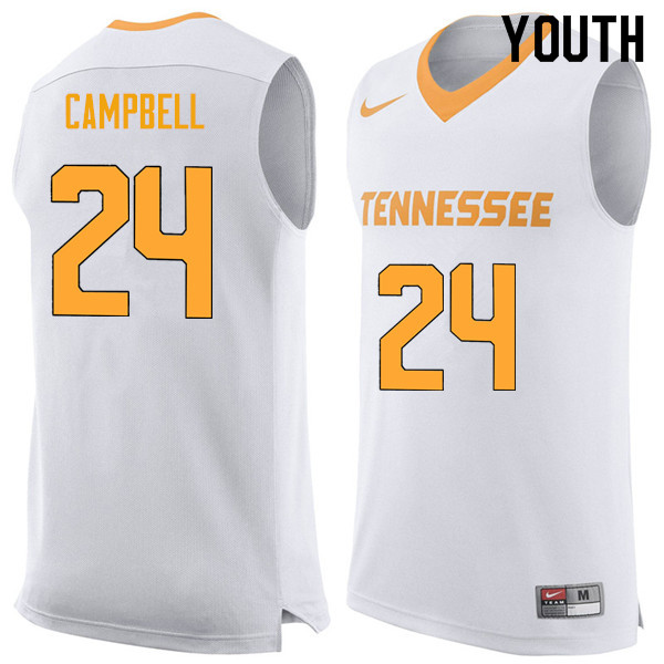 Youth #24 Lucas Campbell Tennessee Volunteers College Basketball Jerseys Sale-White