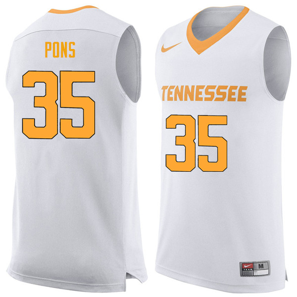 Men #35 Yves Pons Tennessee Volunteers College Basketball Jerseys Sale-White